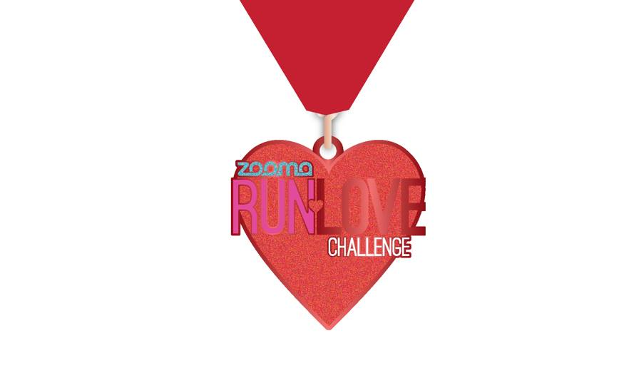 Zooma Run Love Challenge participants will get a medal for completing the 5K or 10K this Valentine's Day!