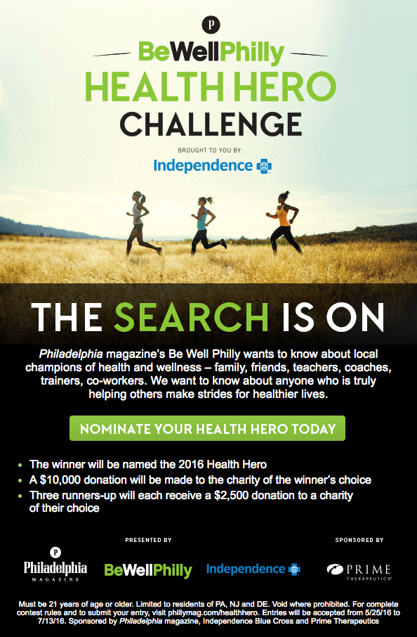 The Be Well Philly Health Hero Challenge is back! Nominate anyone you know who is dedicated to promoting health and wellness in their community! Find out more at runwithnoregrets.com!