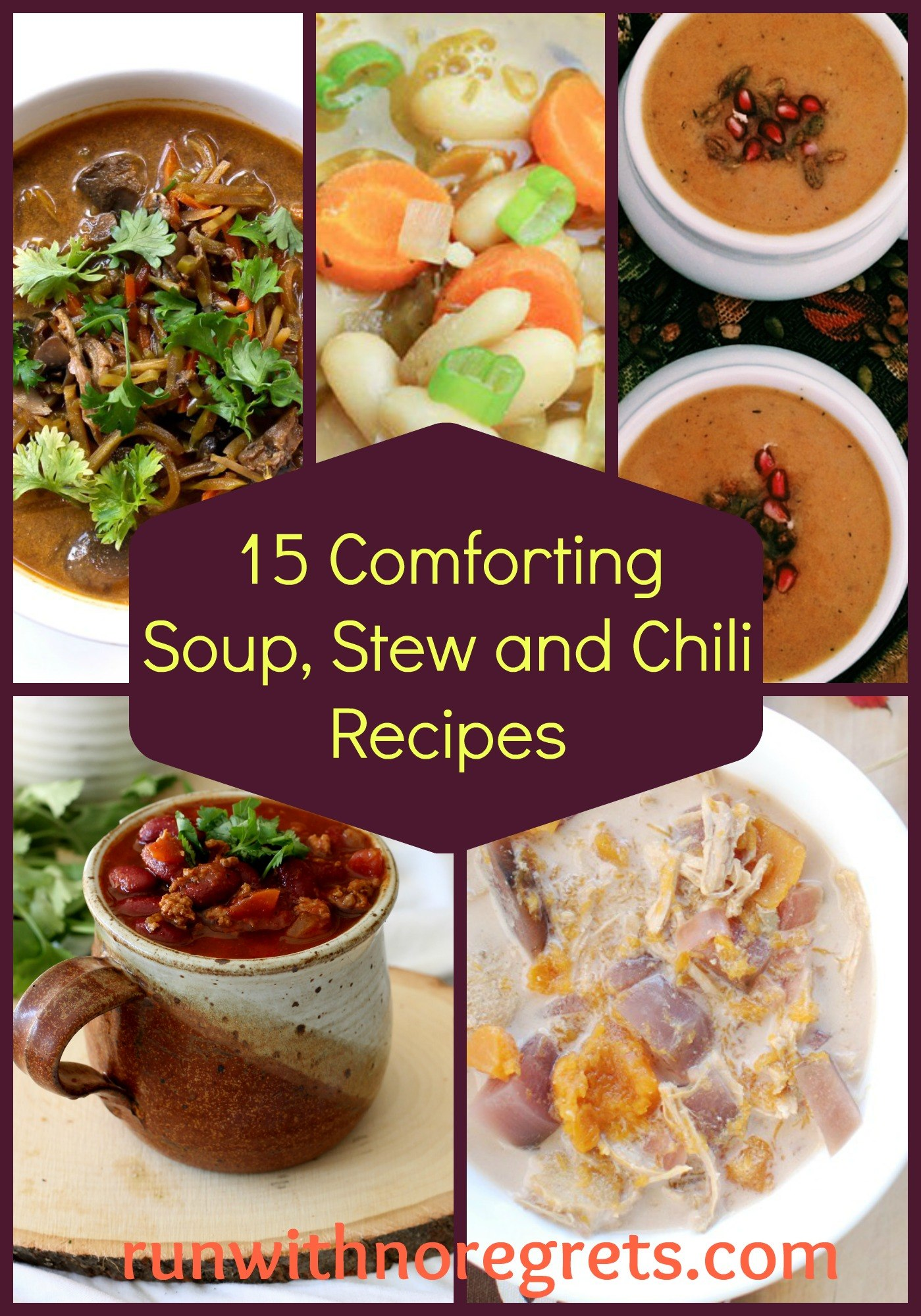 When it's cold outside, there's nothing more comforting than a warm, delicious meal! Check out 15 healthy and delicious recipes for soups, stews, chilis, and chowders for your next dinner! Check out more healthy recipes and running resources at runwithnoregrets.com!